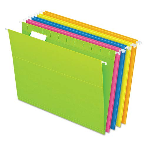 (Reinforced Hanging Folders, 1/5 Tab, Letter, Glow Assorted, 25/Box, Sold as 25 Each)