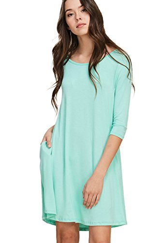 Annabelle Women's 3/4 Sleeve Casual Swing Dresses Plus Size With Pockets XX-Large Seafoam D5211