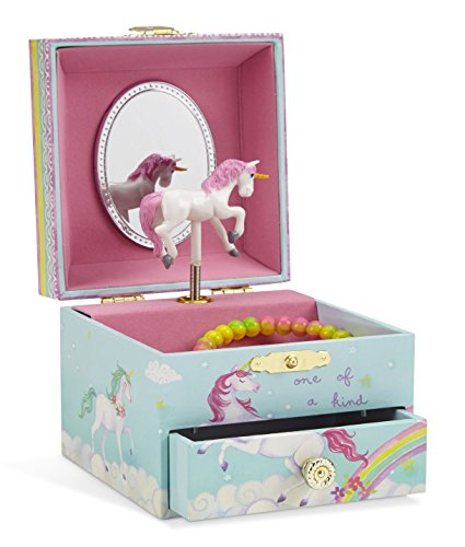 Jewelkeeper Musical Jewelry Box, Unicorn Rainbow Design with Pullout Drawer, The Unicorn Tune -
