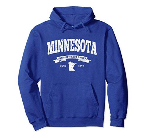 Unisex Minnesota Hoodie. Vintage Minnesota Sweatshirt Retro MN Small Royal Blue