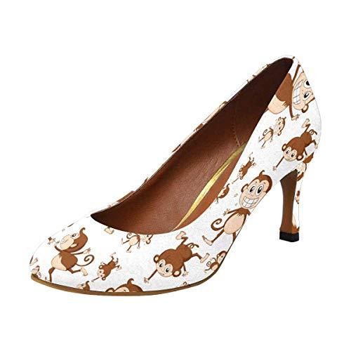 Houndstooth Pump Heel High (INTERESTPRINT Womens High Heels Comfort Pumps Monkey 6 B(M) US)