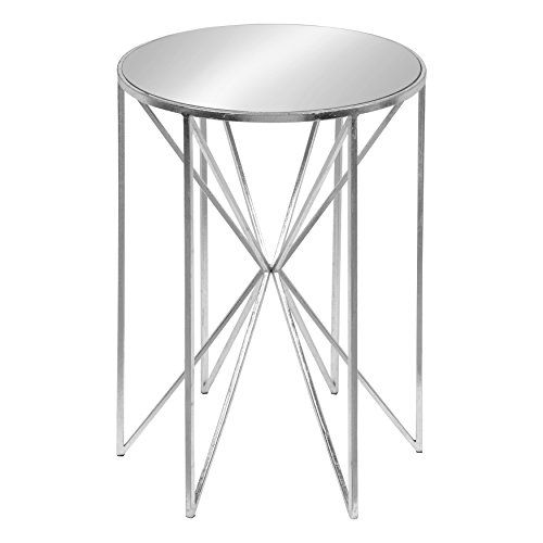 (Kate and Laurel Triggs Modern Luxe Round Mirrored Metal End Table, Silver Leaf, 17.5-inch Diameter x 20-inches)