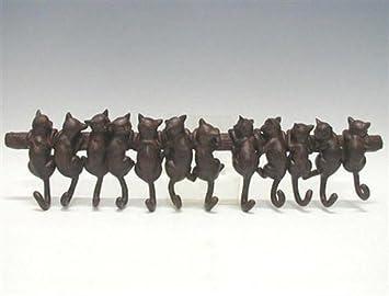 Perchero de pared Gatos, 12 colgadores, 16,5x72 cm: Amazon ...