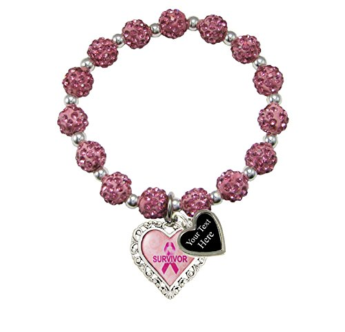 Holly Road Breast Cancer Awareness Survivor Filigree Heart Stretch Jeweled Pink Bracelet Choose Your Text