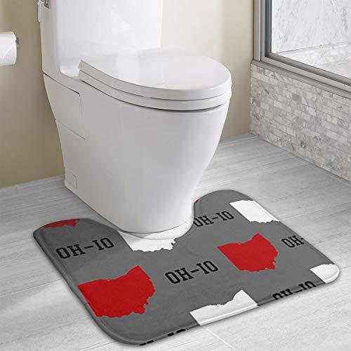 XINLLPO Oh-Io State Gray Contour Bath Rugs,U-Shaped Bath Mats,Soft Polyester Bathroom Carpet, Nonslip Toilet Floor Mat,Machine Wash,16x20 Inches ()