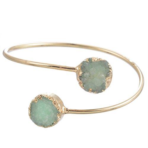 MJartoria Oval Shape Druzy Natural Stone Green CZ Crystal Quartz Gold Color Wire Bangle Charm Bracelet