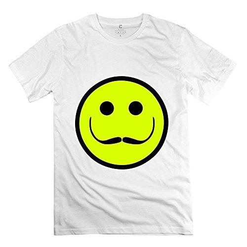 Men's Crew Neck Salvador Dali Smile Face With Mustache T-Shirt XXL White