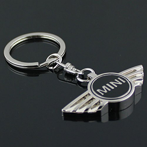 Mini Cooper 3D Metal Logo Car Key Chain Ring Marked Model Keychain (Black)