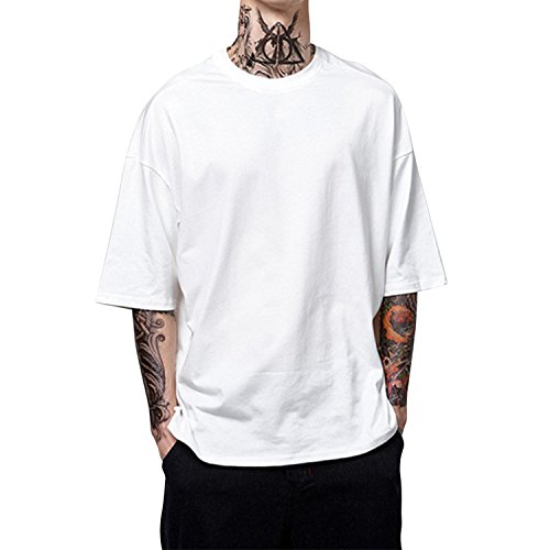 Loose Uni shirt Simple Homme Confort Mode longue Top Pullover Mi Printemps Eté Blanc Semen Haut Sport T Casual Respirant Manche gqtB1gxvw