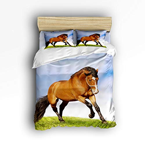 Full Bedding Duvet Cover Set, 4 Piece - Horse Running On The Prairie Luxury Lightweight Microfiber Comforter Quilt Cover with Zipper Closure and Fitted Sheet, Decorative Shams ()