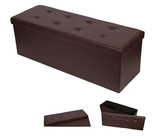 3.6' Folding Storage Ottoman and Bench Seat By Trademark Innovations (Brown, Faux Leather)