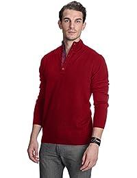 Men's 100% Pure Cashmere Button Mock-Neck Polo Collar Sweater Pullover