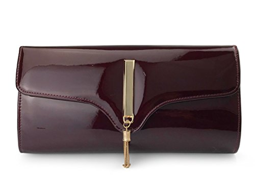 Tassel Women's Glossy Evening Clutch With Chain Strap Wedding Cocktail Party Concert Purse (Burgundy) by Hoxis