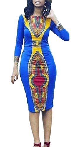 Sleeve Traditional Bodycon Dashiki Long Picture Print African Women Dresses As Jaycargogo wYxpRqZOO