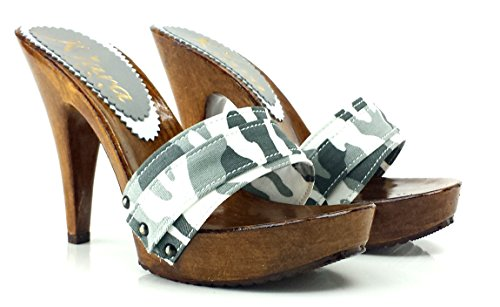 kiara shoes Clogs For Woman Militar Heel 11 cm K21101 Militar TKiDF12n