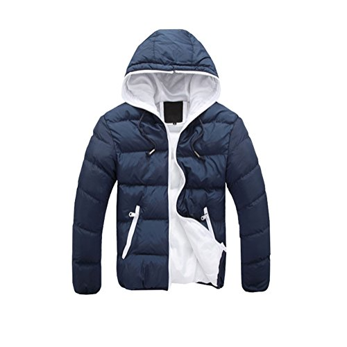 Jacket Hooded Warm white Jacket Urban Down Coat Men's Dark blue Jacket Padded Puffa nXx87wwS1