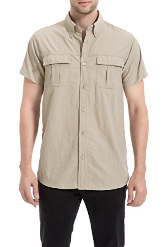 Trailside Supply CO. Men's Quick-Dry Nylon Breathable Insect-repellent Fishing Shirt Short Sleeve