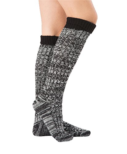 (SherryDC Women's Ribbed Knit Knee High Boot Socks Winter Long Leg Warmers Stockings Black Free Size)