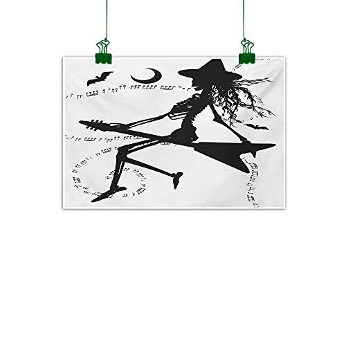 Anzhutwelve Music,Room Decor Witch Flying on Electric Guitar Notes Bat Magical Halloween Artistic Illustration Wall Art Kitchen Black White W 47