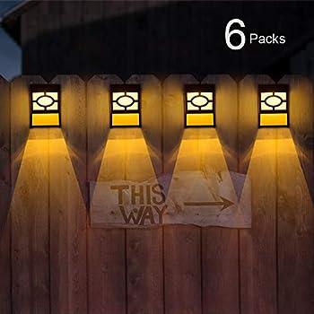 Solar Fence Post Lights By Fomatrade 6 Pack Of Solar Powered Outdoor Path Light Yard Fence Gutter Garden Wall Lamp warm light