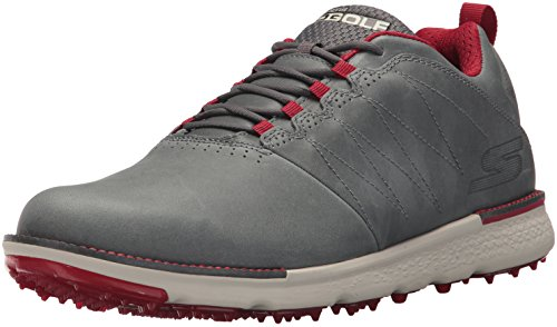Twinkle Toes by Skechers Skechers Performance Men's Go Elite 3 LX Wide Golf Shoe,Charcoal/Red,10 W US