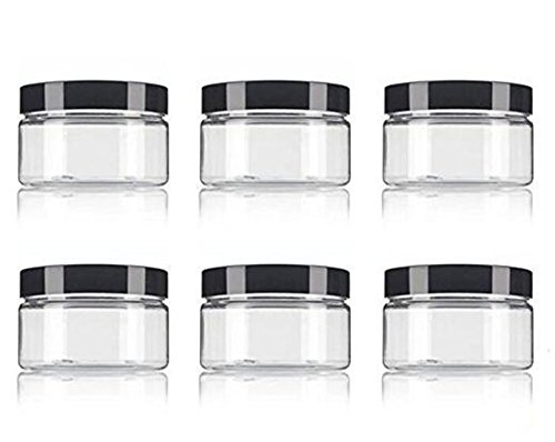 (Clear PET Plastic (BPA Free) Refillable Low Profile Jar 8 Oz / 250ml Empty Cosmetic Containers Cases with Black Lid for Lip Balm Make Up Eye Shadow Powder Cream Lotion Bottle Food Bottle (6 pack))