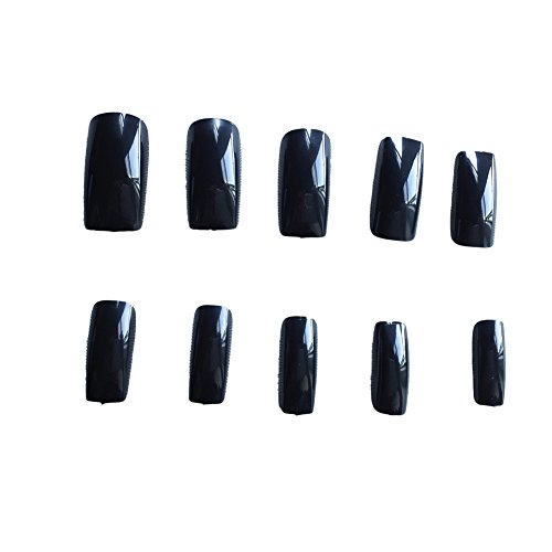 GUGULUZA 500 Pcs Full False Nail Fashion Design Nail Art Tips(Black)