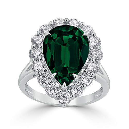 Diamond Wish 18k White Gold 4 1/5ct Emerald and 4 1/5ct TDW Diamond Halo Engagement Ring, Size 6.5