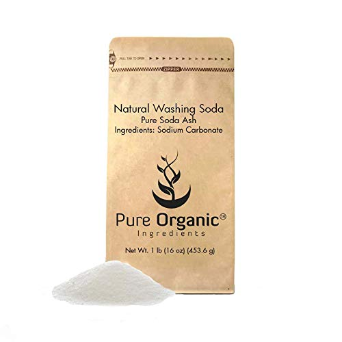 Natural Washing Soda (1 lb.) by Pure Organic Ingredients, Also Called Soda Ash or Sodium Carbonate, Eco-Friendly Packaging, Multi-Purpose Cleaner, Water Softener, Stain-Remover