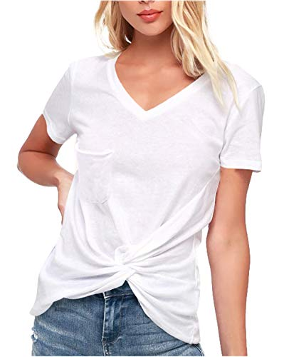 HPLY Women's Casual Short Sleeve Twist Knotted Tops Blouse Tunic T Shirts White/XL
