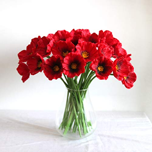 (Mandy's 30pcs Red Poppies Silk Artificial Flowers for Wedding Home & Kitchen PU 12.5