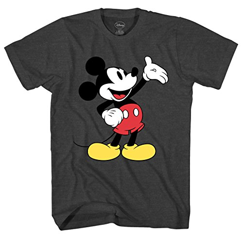 Mad Engine Disney Mickey Mouse Wave Men's Adult Graphic Tee T-Shirt (Charcoal Heather, Medium)