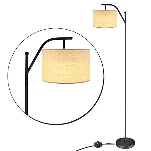 (LED Floor Lamp,Anbomo Classic Standing Industrial Arc Light with Hanging Lamp Shade,Modern Floor Lamp for Bedroom, Living Roon, Study Room, Tall Pole Uplight for Office)