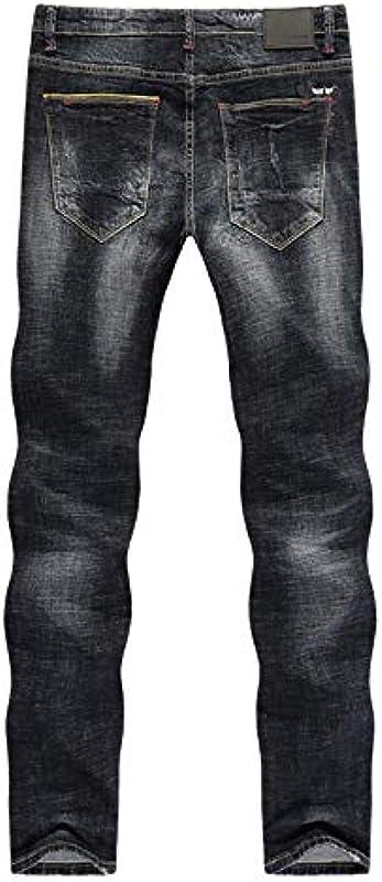 YANGPP Zerrissene Jeans Für Męskie Herbst Und Winter Schwarze Jeans Stretch Slim Straight Streetwear Hollow Out Distressed, Wie Auf Dem Bild, 31: Sport & Freizeit