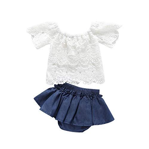 (Toddler Baby Girls 2pcs Outfits Lace Short Sleeve Off Shoulder Shirt Top+Denim Short Pants Skirt(White, 12-18M))