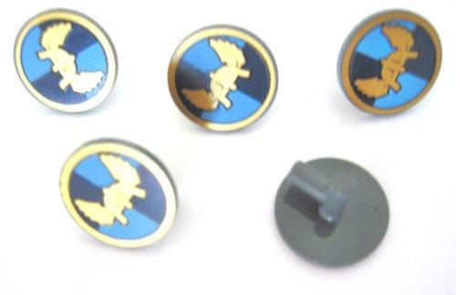 LEGO Castle - Dark Bluish Gray Minifig Shields Round Flat with Winged Helmet on Dark Blue, Medium Blue Quarters Background Pattern - x5 - Dark Ferrari Blue
