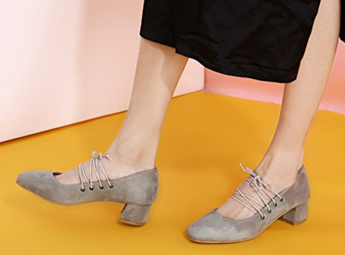 Aisun Womens Unique Square Toe Dress Gilly Self Tie Stacked Low Heels Pumps Shoes Gray hriOSPi