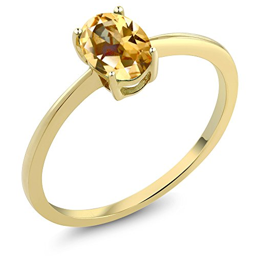 10K Yellow Gold Ring Set with Oval Honey Topaz from Swarovski