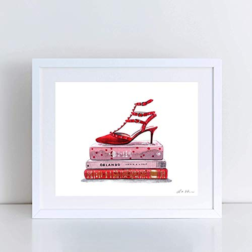 Red Valentino Rockstud Heels Designer Heels Art Print Watercolor Painting Wall Home Decor Fashion Illustration Vogue Shoes Gift for Her Preppy Pretty Canvas Books -