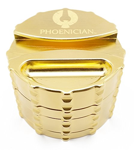 Phoenician Elite Grinder - Large 4 Piece - 24 Karat Gold Plated with Papers Holder by Phoenician
