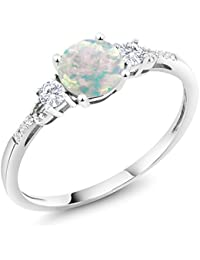 0.45 Cttw White Simulated Opal White Created Sapphire 10K White Gold Diamond Accent Three-stone Engagement Ring (Available in size 5, 6, 7, 8, 9)