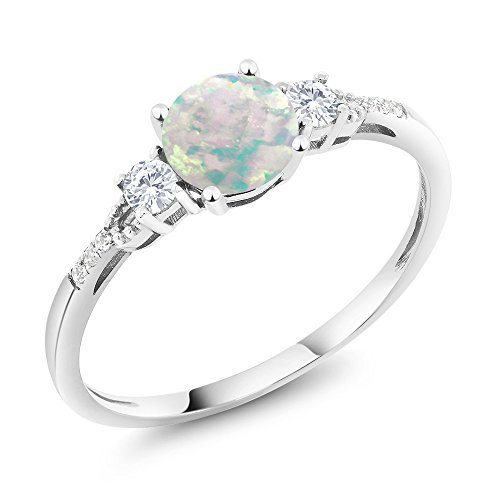 0.45 Cttw White Simulated Opal White Created Sapphire 10K White Gold Diamond Accent Three-stone Engagement Ring (Ring Size 7) by Gem Stone King