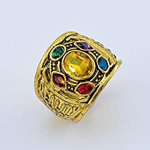 Avengers 3 ring, Men's gentleman feeling, six gems, ancient gold ring, retro style features for cosplay, size US 8