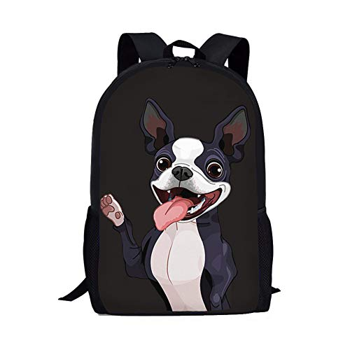 (Showudesigns Children Shoulder Schoolbag Kids Backpack with Water Bottle Holder Book Bag Boston Terrier)