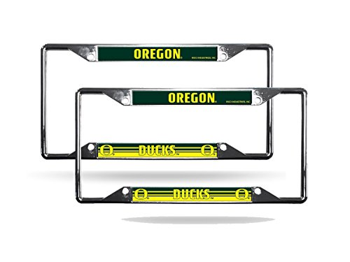 Rico Oregon Ducks NCAA Chrome (2) EZ View License Plate Frame Set