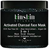 Kinskin Naturals Activated Charcoal Face Mask, 3 IN 1 Charcoal Face Mask, 100g - Detoxifying,DeTan,Anti-Blemish,Exfoliate