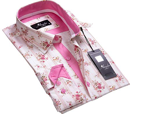 Mens Button Down Slim Fit Dress Shirt with Reversible Cuff in White Pink Striped Floral Casual and Formal
