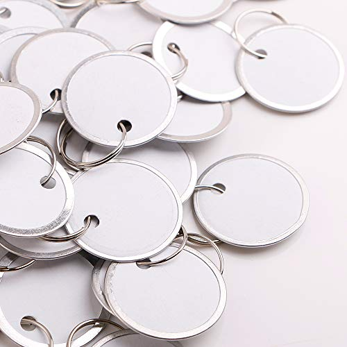White Split Ring Metal Rim Key Tags, 55 per Pack
