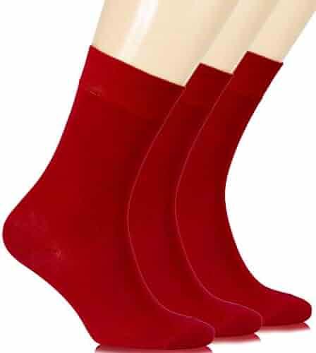 1a71afee36d62 Hugh Ugoli Women's Dress Socks Bamboo Viscose Crew Socks Women's Shoe Size:  6-9