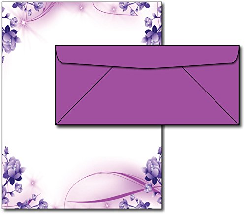 Purple Passion Stationery Paper & Envelopes - 40 Sets